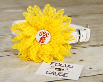 USC Trojans Dog Collar Flower, Attachment, (Collar not included), Collar Flower, Dog Accessory, Photograpy Prop