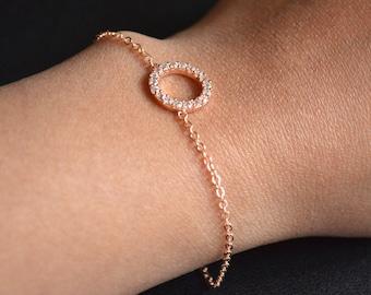Bracelet pink gold zirconium ring