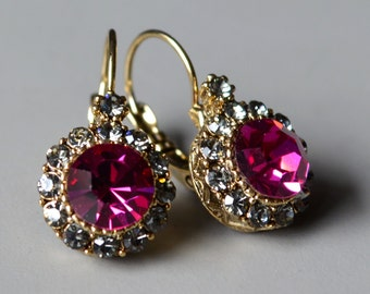 Fuchsia crystal earrings