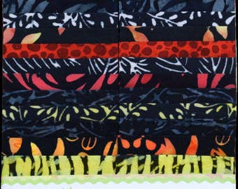 "Island Batik Fire Island Blue Red Yellow Batiks Jelly Roll Strips Pack 40 2.5"" Strips of Fabric"