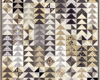 Moda Basic Grey Maven Complete Quilt Kit Fabric 54 x 66 Tan Black Cream Gray