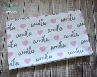 Personalized baby name swaddle pink heart design blanket: baby and toddler personalized name newborn hospital gift baby shower gift