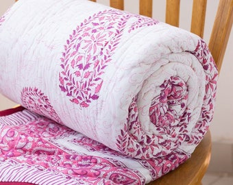 Block printed quilt - Paisley and floral cotton blanket - twin quilt - block print throw blanket - cotton quilted bedspread - Rani quilt