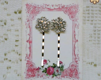 Rhinestone 1928 Jewelry Style Pair of Hairpins Clips for Prom-Do ~ FREE SHIPPING