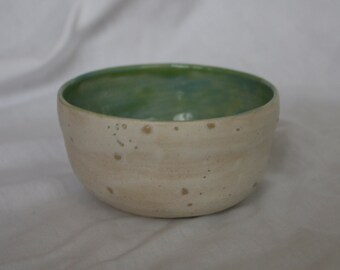 Small Bowl in Sea Salt (off white) and Light Blue/Green