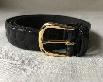 Vintage Black croc embossed Belt
