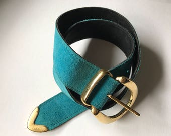 Vintage turquoise suede leather belt/ XS - S size belt