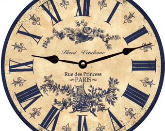 Blue French Toile Clock