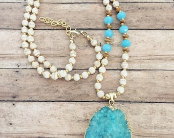 SUMMER SALE *** Turquoise Druzy Necklace