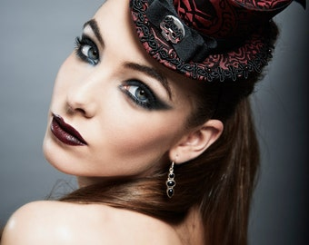 """Gothic Steampunk Top Hat """"Curiosité - Red"""" Red Black Brocade Sterling Silver Skull Head"""
