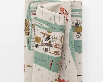 Cotton + Steel Rifle Paper Co. Les Fleurs Canvas City Maps Natural/ Half yard