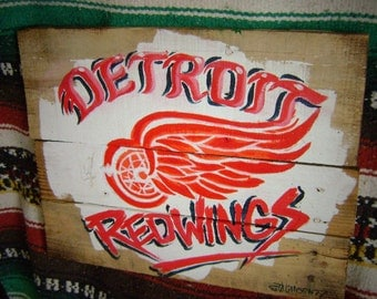 Detroit Redwings Pallet Sign-Rustic Hand made Vintage Hockey