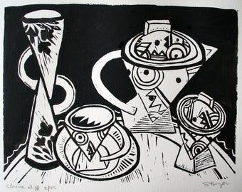 Original linocut, Black Ink, Clarice Cliff Inspired by Australian Artist