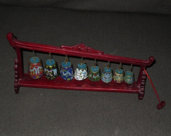 Vintage Chinese Cloisone Bells , Musical Percussion Instrument , Decorative Miniatures
