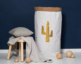 Paper bag XXL Cactus gold - powder cloud