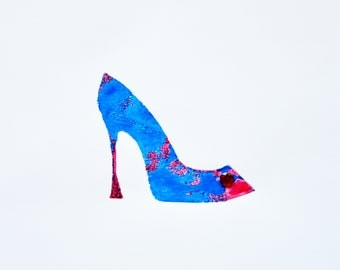 Blue and Red Screen Printed Shoe, Red Gem