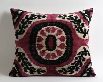 purple ikat pillow, purple velvet pillow, velvet pillow cover, decorative pillow, ikat pillow, purple pillow, ikat pillow cover, purple ikat