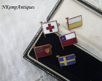 Old enamel flag brooch x 5