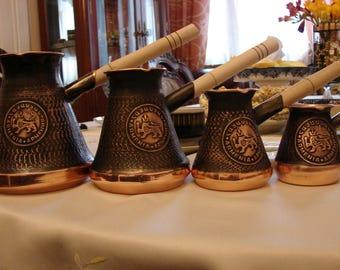 Set of 4 Armenian Handmade Coffee Pot Copper Turkish Coffee Maker Jezve Cezve Ibrik Turka