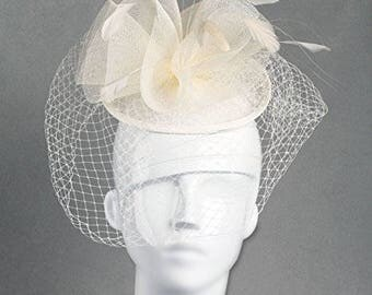 Classic Wedding Veiled Fascinator. Swirled Soft Cones Fascinator for Weddings, Mourning Dress or the Races, Netting and Feathers - Ivory