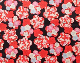 Ume Apricot Flower Black Japanese Cotton Fabric Per 50cm Length TG132