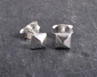 Sterling Silver Domed Cube Earrings Ear Studs handmade
