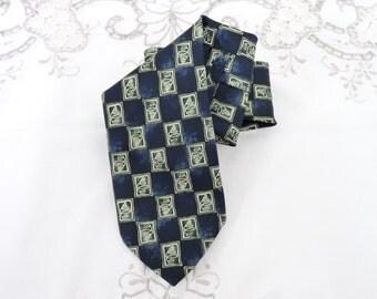 Men's Silk Neck Tie, M & S, Marks and Spencer, Navy Blue and Cream, Retro, Silk Tie, Menswear, Accessories,