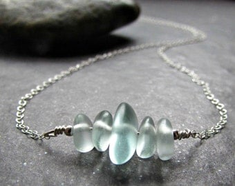 Sea Glass Necklace in Sterling Silver, 14K Yellow Gold Filled or Rose Gold Filled- Beach Glass Jewelry- Ocean Gifts- Coastal Jewelry