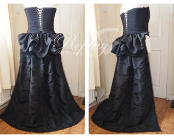 Bustle Train Victorian Steampunk Gothic Burlesque Overskirt Lace - Black , Brown , Burgundy, Olive Green