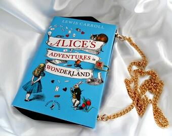 Alice in Wonderland Bookarelli Book Bag - Book Clutch Purse - Book Handbag - Detachable Chain Handbag - Removable Chain Bag