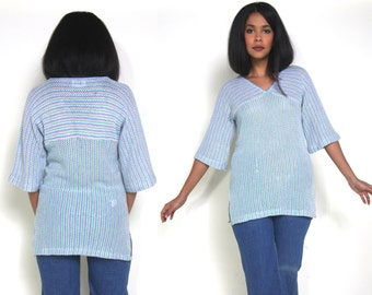 Vintage 70s 80s Stripe Blue Green Pink White Bell Sleeve Sweater Tunic Hippie