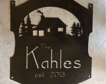 Personalized, metal sign with Cabin scene