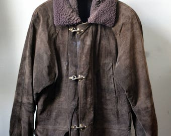 Vintage Brown Suede Fireman's Style Jacket w. Removable Shearling Collar Approximately Size L/XL Large/Extra Large