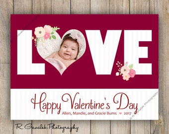 Heart Valentine Photo Card | Love Valentine's Day Greeting Card | Custom Valentine with Photo | Made to Order | Red and White Valentine