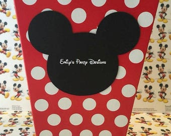 Mickey Mouse Popcorn Boxes Favor, Goody Bag, Minnie Mouse Birthday Favor, Mickey Mouse, Minnie Mouse. (Price is per 8 boxes)