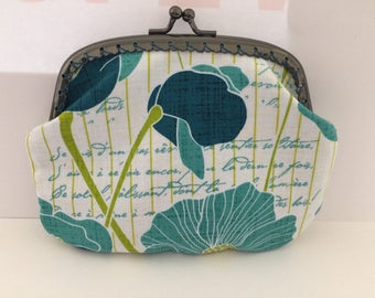 Large Blue Poppy with French Writing Coin Purse