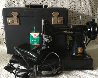 Singer Featherweight Sewing Machine 221 - 1954 - Carrying Case, Vintage Singer Oil Can and Double Power Cord - Quilters Sewing Machine