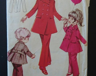 Fabulous coat and pants pattern Size 3 or 4 reversible Vintage Girls Wrap around dress pattern 1960s 1970s -number 5688 Think wool