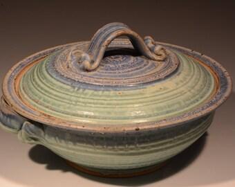 Pottery casserole etsy for Brick oven stoneware jardin bleu