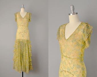 RESERVED / 30s Dress // 1930's Yellow Daisy Print Silk Georgette Dress w/ Ruffle Tiered Skirt // XS