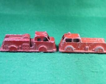 Vintage Pair of Die Cast Toy Fire Trucks - Goodee and Midgetoy
