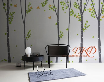 Birch trees decals:wall decals, nature wall decals, vinyl wall decal, nature wall decal stickers, birch tree, nursery wall stickers-DK081