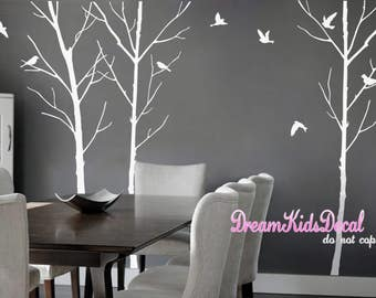 Tree Wall Decal for Nursery, White tree with birds, Vinyl Wall Decal Wall Sticker-set of 3 trees-DK019