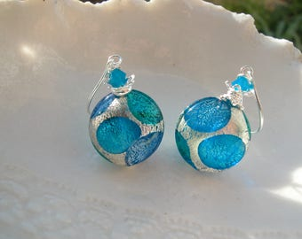 Blue Earrings In Murano Glass
