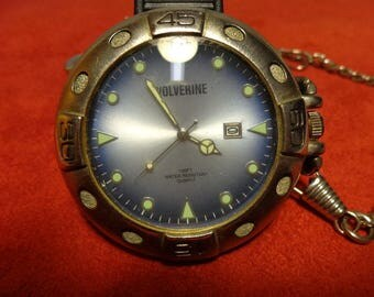 Wolverine Pocket Watch and Chain Glow in Dark Watch face, 1980's Time and Date Quartz Watch Japan Movement