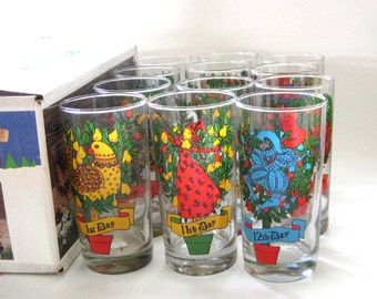 Indiana Glass 12 Days of Christmas Glasses New in the Box, Complete Set, Christmas Glassware, Holiday 12 oz. Drink Tumblers