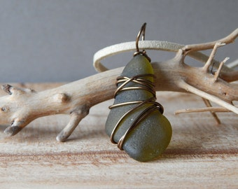 Genuine Olive Green Sea Beach Glass Pendant Necklace, Wire Wrapped Glass Pendant, Handmade Glass Jewelry for Her, Necklace for Women