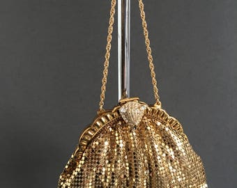 Vintage Evening Bag Chain Mail Gold with own Mirror