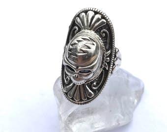 Grateful Dead Steal Your Face Biker Ring Sterling Silver Adjustable Furthur Dead and Co