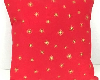 Gold Stars on Red Christmas Pillow Cover
